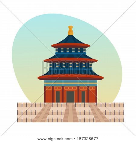 World sights. Architectural building, large palace complex of chinese emperors is a historical imperial palace a forbidden city. China travel. Vector illustration isolated on white background.