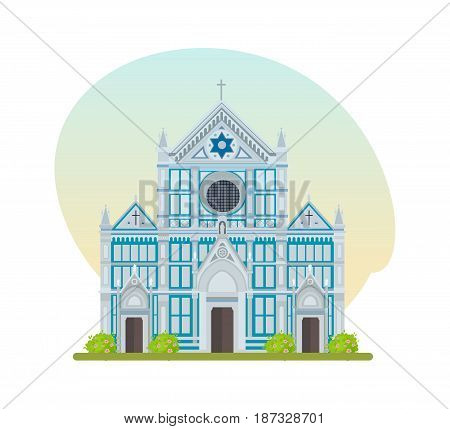 World landmarks. Architectural building, popular large Franciscan church of the Basilica of Santa Croce. Modern vector illustration isolated on white background.