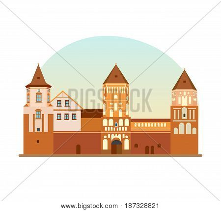 World sights. Travel to Europe. Architectural building, architectural monument, historical, cultural value of Republic of Belarus. Vector illustration isolated on white background.