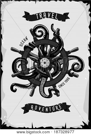 Retro poster with ship whell and octopus. Grunge design