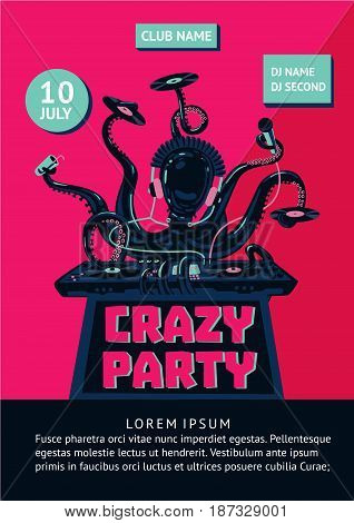 Night party poster template with octopus dj and mixing console.