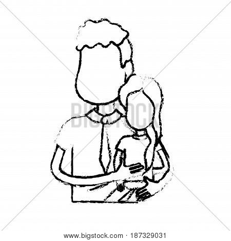figure nice father carrying his daughter in the hands, vector illustration