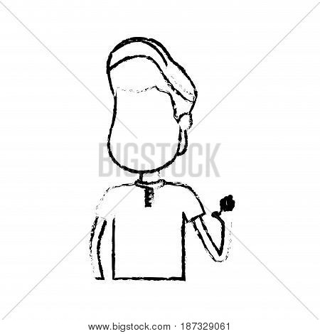 figure nice boy with hand up and casual wear, vector illustration