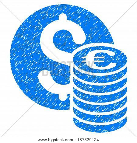 Grunge Dollar And Euro Coins icon with grunge design and scratched texture. Unclean vector blue pictogram for rubber seal stamp imitations and watermarks. Draft emblem symbol.