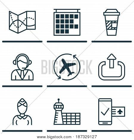 Set Of 9 Travel Icons. Includes Aircraft Arrow, Takeaway Coffee, Hostess And Other Symbols. Beautiful Design Elements.