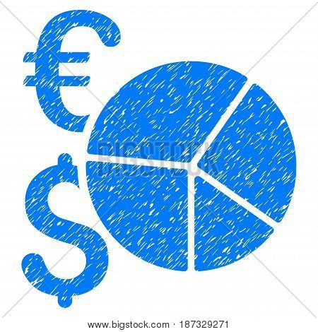 Grunge Dollar And Euro Pie Chart icon with grunge design and unclean texture. Unclean vector blue pictogram for rubber seal stamp imitations and watermarks. Draft sticker symbol.