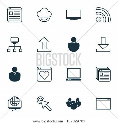 Set Of 16 Web Icons. Includes Cursor Tap, Account, PC And Other Symbols. Beautiful Design Elements.