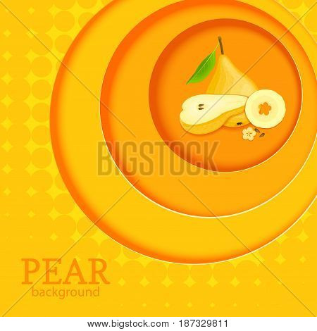 Orange background with circles on top of each other and ripe fruit pear. Vector illustration. Ripe fresh yellow pears round volume background with shadow, for the design of juice food detox diet