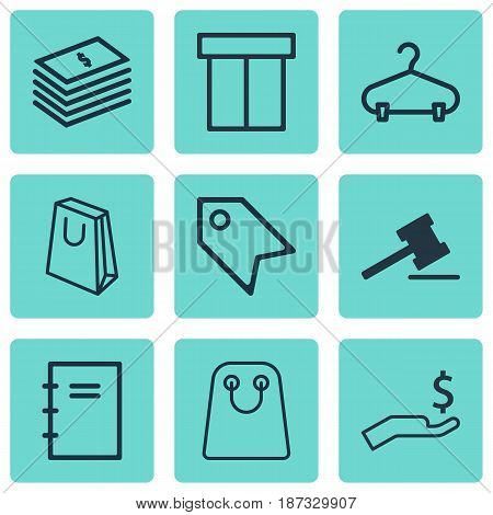 Set Of 9 E-Commerce Icons. Includes Peg, Price Stamp, Spiral Notebook And Other Symbols. Beautiful Design Elements.