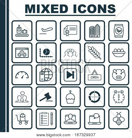 Set Of 25 Universal Editable Icons. Can Be Used For Web, Mobile And App Design. Includes Elements Such As Baggage On Conveyor, Wheat, Reminder And More.