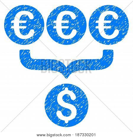 Grunge Euro Dollar Conversion Aggregator icon with grunge design and dirty texture. Unclean vector blue pictogram for rubber seal stamp imitations and watermarks. Draft sign symbol.