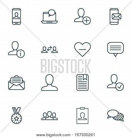 Set Of 16 Social Network Icons. Includes Business Exchange, Insert Person, Privacy Information And Other Symbols. Beautiful Design Elements.