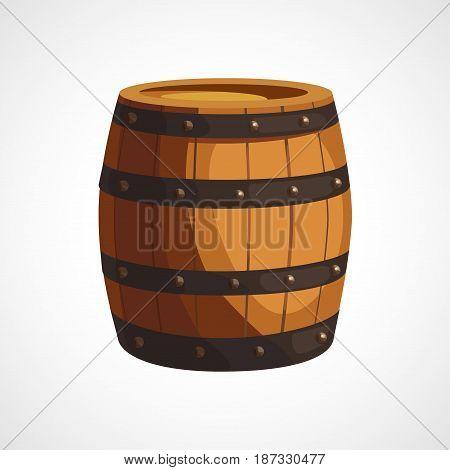 Cartoon illustration of wooden barrels on a white background
