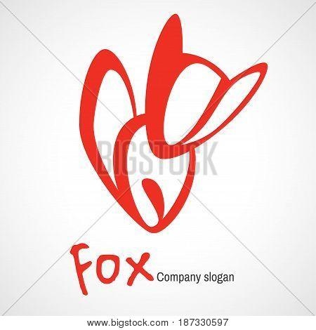 Logo with orange fox. vector fox icon.