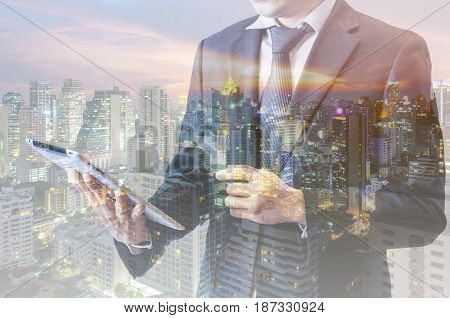 Double Exposure Of Businessman Touching With Smart Phone Connected Internet And Network Connection T