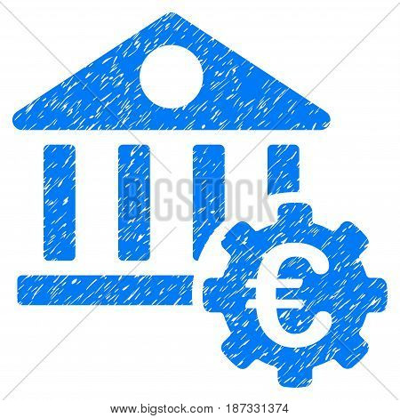 Grunge Euro Bank Building Options icon with grunge design and dust texture. Unclean vector blue pictogram for rubber seal stamp imitations and watermarks. Draft sticker symbol.