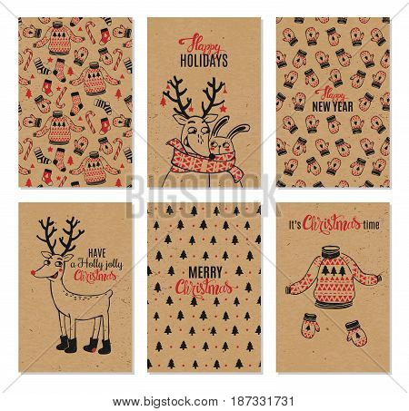 christmas hand drawn vector printable cards with deer santa christmas tree snowflakes and