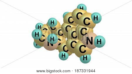 Ergoline is a chemical compound whose structural skeleton is contained in a diverse range of alkaloids. 3d illustration