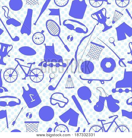 Seamless illustration on the theme of summer sports blue outlines of sports equipment on a light background polka dot