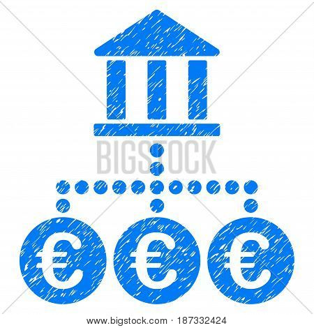 Grunge Euro Bank Transactions icon with grunge design and dust texture. Unclean vector blue pictogram for rubber seal stamp imitations and watermarks. Draft emblem symbol.