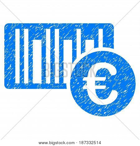 Grunge Euro Bar Code Price icon with grunge design and dirty texture. Unclean vector blue pictogram for rubber seal stamp imitations and watermarks. Draft sticker symbol.