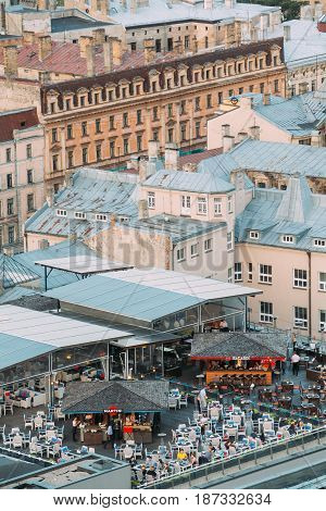 Riga, Latvia - July 2, 2016:  Top view of Roof Bar Cafe Terrace Riga In Summer Evening