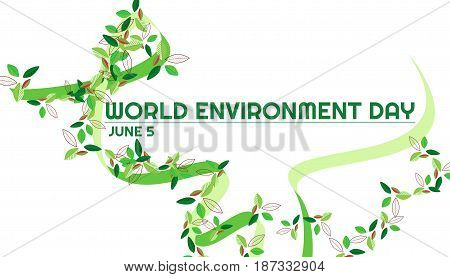 World environment day green ribbon and a different leafs. Vector graphic green ribbon and multicolor different leaves on a white background.