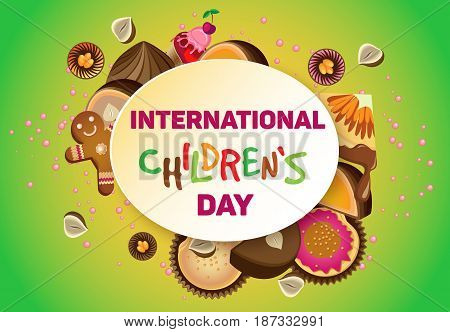 Vector horizontal poster on International Children's Day. On a yellow-green gradient background. Oval die with text
