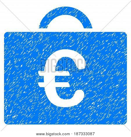 Grunge Euro Bookkeeping Case icon with grunge design and scratched texture. Unclean vector blue pictogram for rubber seal stamp imitations and watermarks. Draft emblem symbol.