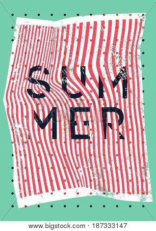 Summer typographic vintage grunge poster design on misshapen lines abstract geometric background. Retro vector illustration.