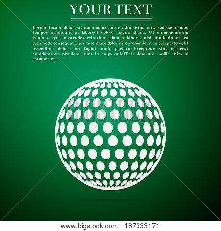 Golf ball flat icon on green background. Vector Illustration