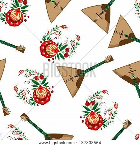 Vector pattern of balalaika and ornamental elements in Khokhloma style. On a white background