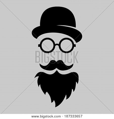 Vintage silhouette of bowler mustaches glasses. Vector illustration of gentleman or hipster. Retro gentleman icon. Vector art. Logo template of gentleman Club.
