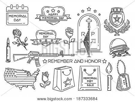 Line icons set for Memorial Day in USA. Federal holiday in the United States of America. Remember and Honor. Vector illustration