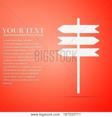 Road sign icon. Signpost flat icon on red background. Pointer symbol. Vector Illustration