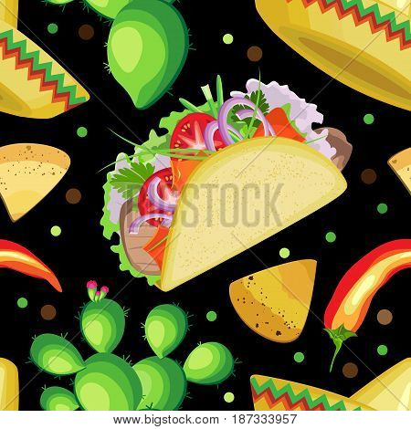 Vector seamless pattern on the holiday of Cinco de Mayo. Sombrero tacos cactus and chili pepper with nachos on a black background.