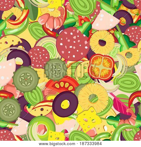 Vibrant vector seamless pattern for pizza toppings. Many pieces of different vegetables sausages and whole shrimps