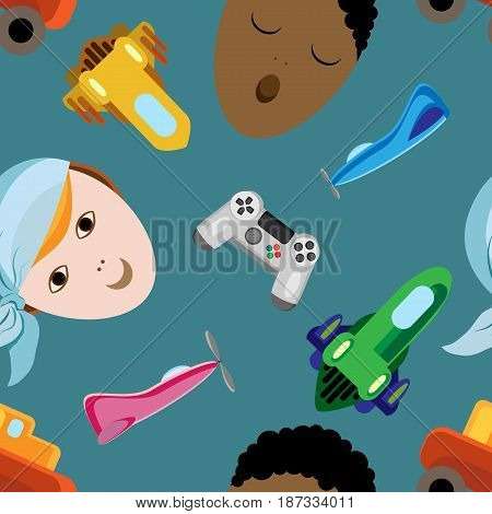 Vector seamless holiday pattern for International Children's Day. Portraits of boys with toys around
