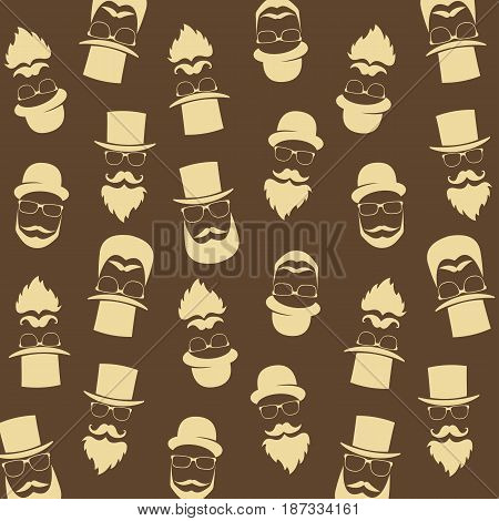 Bearded hipster pattern with glasses moustaches hat. Gentleman background. Vector.