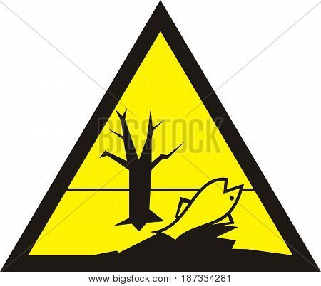 Sign of poisonous in yellow triangle. Harmful chemicals. Dead fish. Vector illustration.