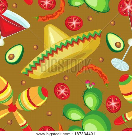 Vector seamless pattern on the holiday of Cinco de Mayo. Sombrero magarita cactus and maracas with vegetables on a golden background.