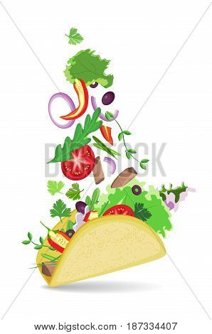 Isolated vector taco with shadow on transparent background. Falling vegetables in a flat cake