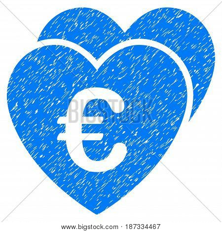 Grunge Euro Favorites Hearts icon with grunge design and unclean texture. Unclean vector blue pictogram for rubber seal stamp imitations and watermarks. Draft sticker symbol.