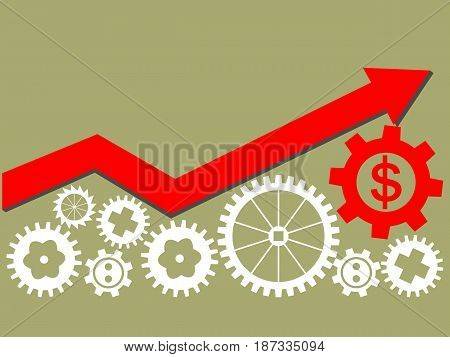 Growing economy and industry represented by gears as a symbol of industrial activity. Arrow up. Vector