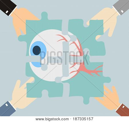 Four hands putting jigsaw puzzle pieces with image of eye together. Vector
