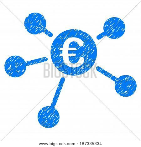 Grunge Euro Links icon with grunge design and scratched texture. Unclean vector blue pictogram for rubber seal stamp imitations and watermarks. Draft emblem symbol.