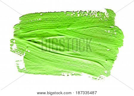 Green strokes of the paint brush isolated on a white