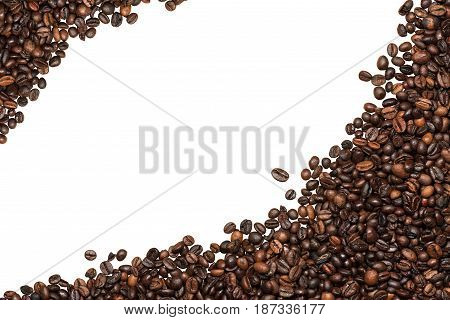 Group of roasted coffee beans isolated on white background with copy space. Two corners