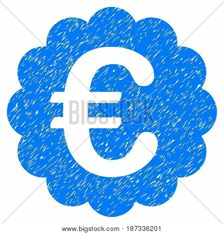 Grunge Euro Quality Seal icon with grunge design and scratched texture. Unclean vector blue pictogram for rubber seal stamp imitations and watermarks. Draft sign symbol.