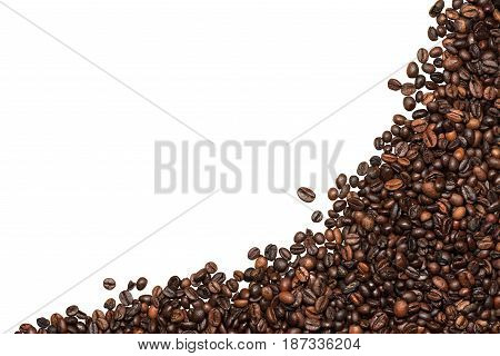 Group of roasted coffee beans isolated on white background with copy space. Corner